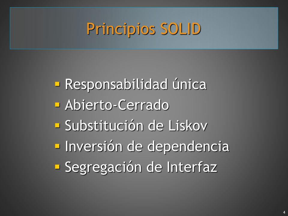 4 Principios SOLID Responsabilidad única Responsabilidad única Abierto-Cerrado Abierto-Cerrado Substitución de Liskov Substitución de Liskov Inversión