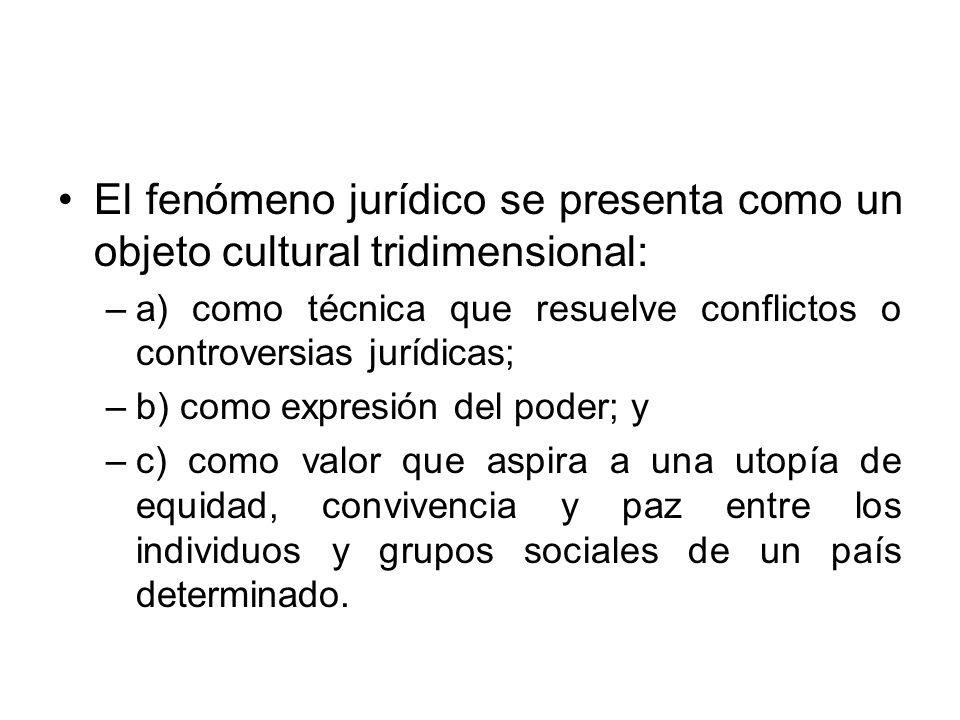 El fenómeno jurídico se presenta como un objeto cultural tridimensional: –a) como técnica que resuelve conflictos o controversias jurídicas; –b) como