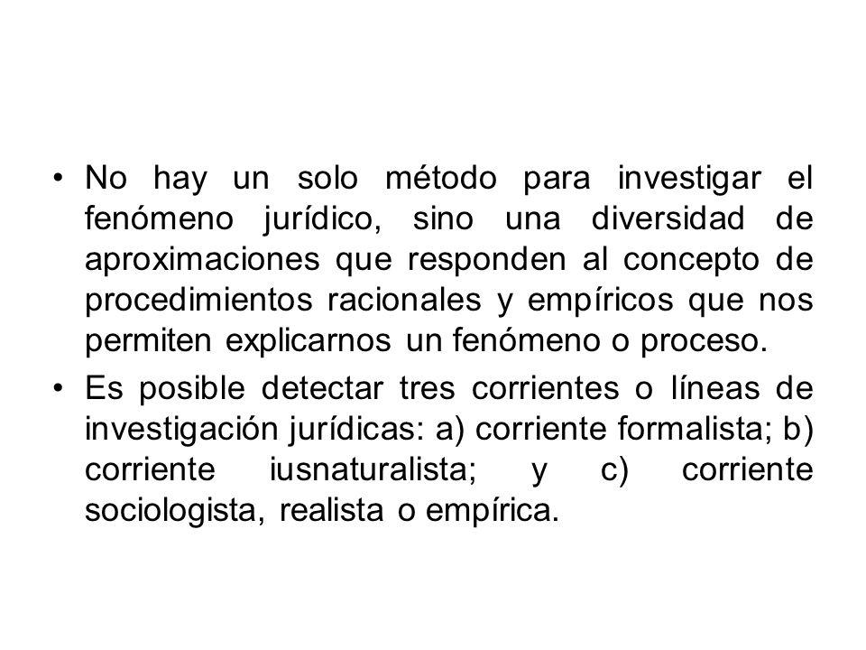No hay un solo método para investigar el fenómeno jurídico, sino una diversidad de aproximaciones que responden al concepto de procedimientos racional