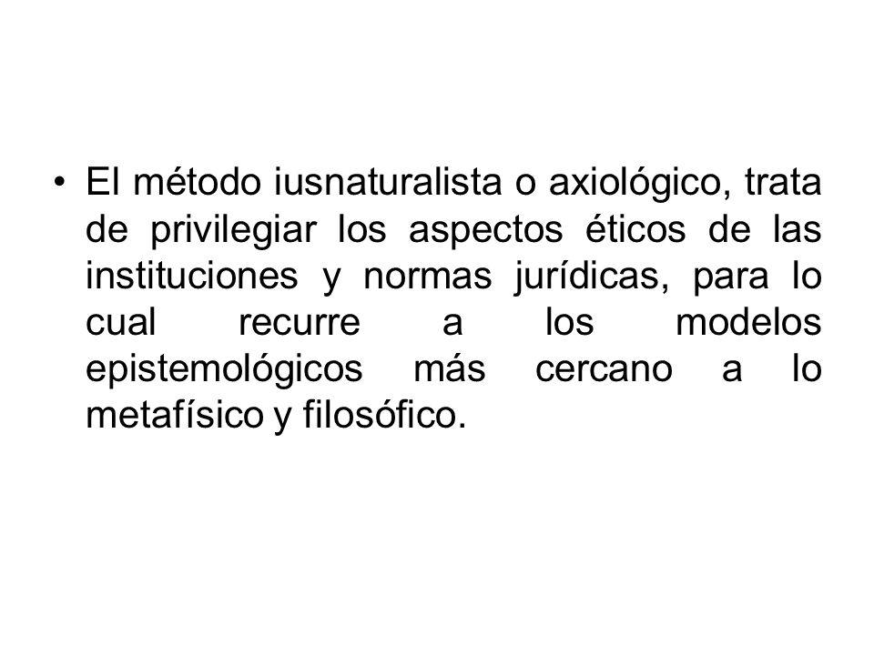 El método iusnaturalista o axiológico, trata de privilegiar los aspectos éticos de las instituciones y normas jurídicas, para lo cual recurre a los mo