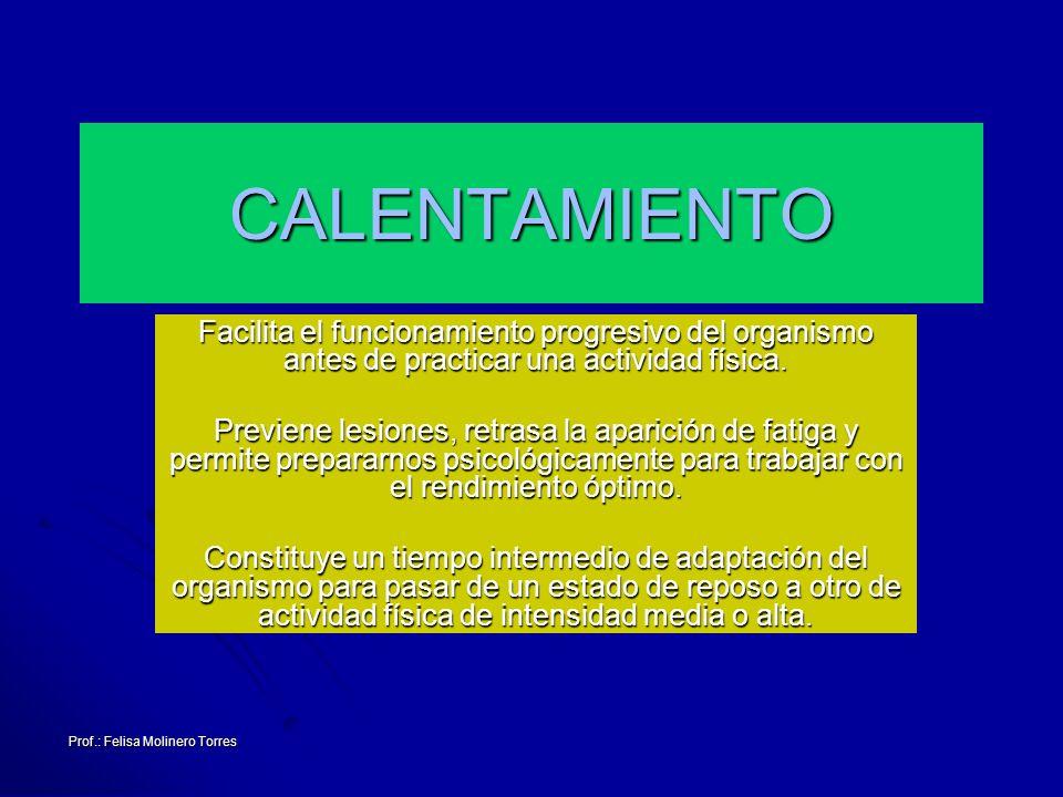 Prof.: Felisa Molinero Torres El tipo de actividad que vamos a realizar en la vuelta a la calma carrera suave estiramientosrelajaciónmasajeduchaSauna Los ejercicios los realizaremos a una intensidad decreciente, suave, sin brusquedades Los ejercicios los realizaremos a una intensidad decreciente, suave, sin brusquedades