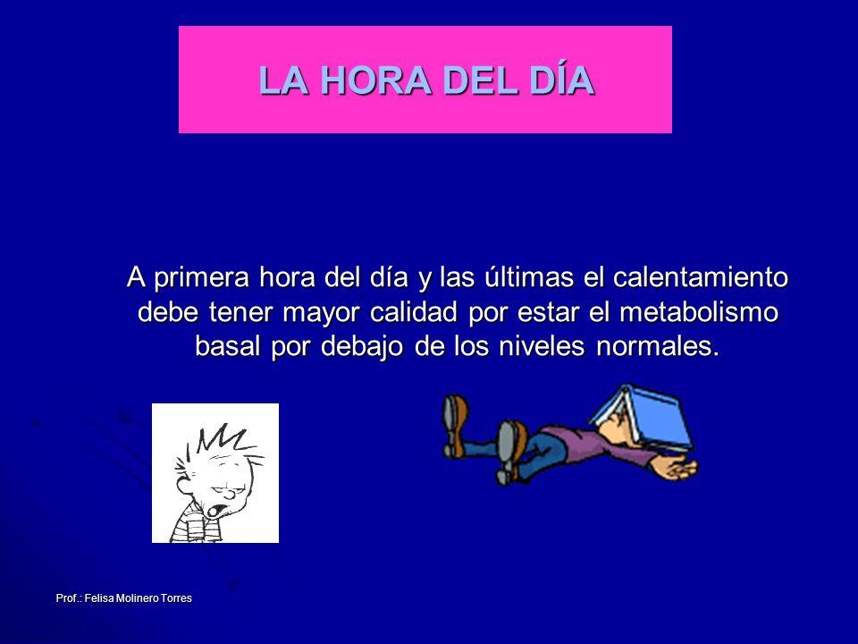 Prof.: Felisa Molinero Torres LA HORA DEL DÍA A primera hora del día y las últimas el calentamiento debe tener mayor calidad por estar el metabolismo