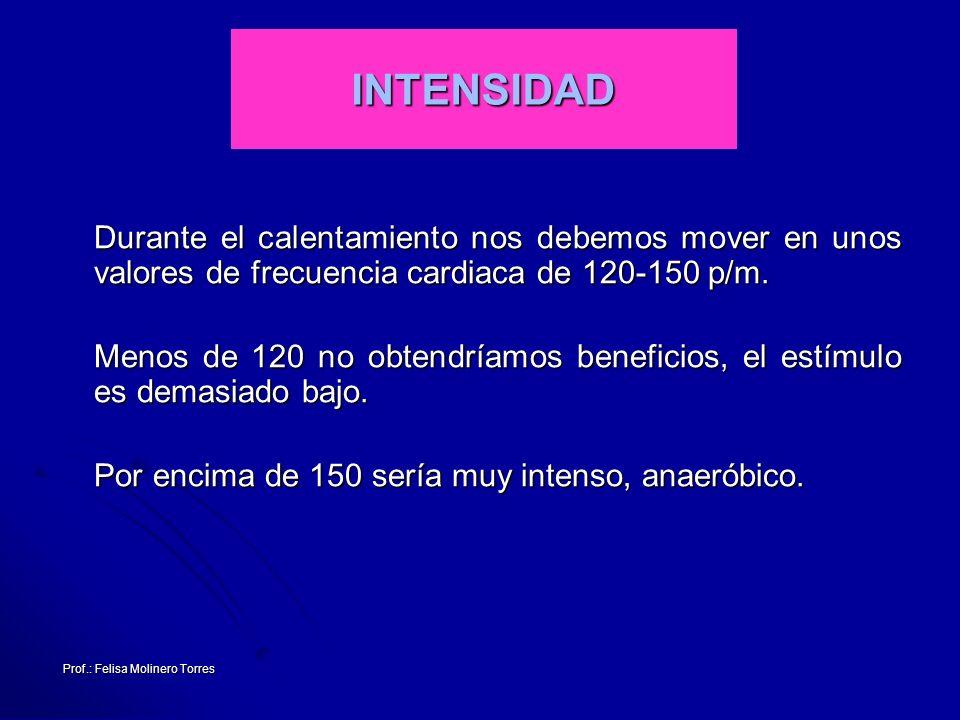 Prof.: Felisa Molinero Torres INTENSIDAD Durante el calentamiento nos debemos mover en unos valores de frecuencia cardiaca de 120-150 p/m. Durante el
