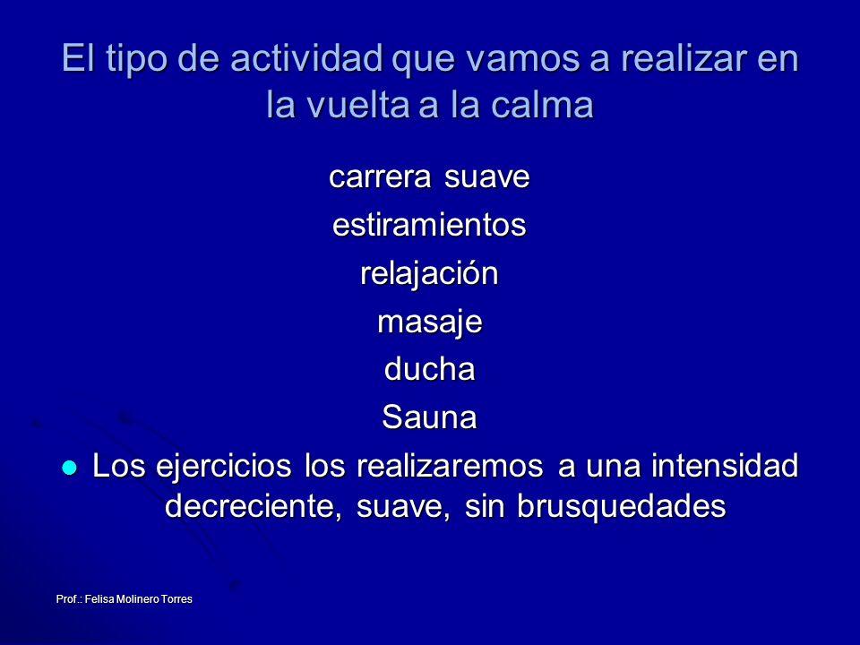 Prof.: Felisa Molinero Torres El tipo de actividad que vamos a realizar en la vuelta a la calma carrera suave estiramientosrelajaciónmasajeduchaSauna