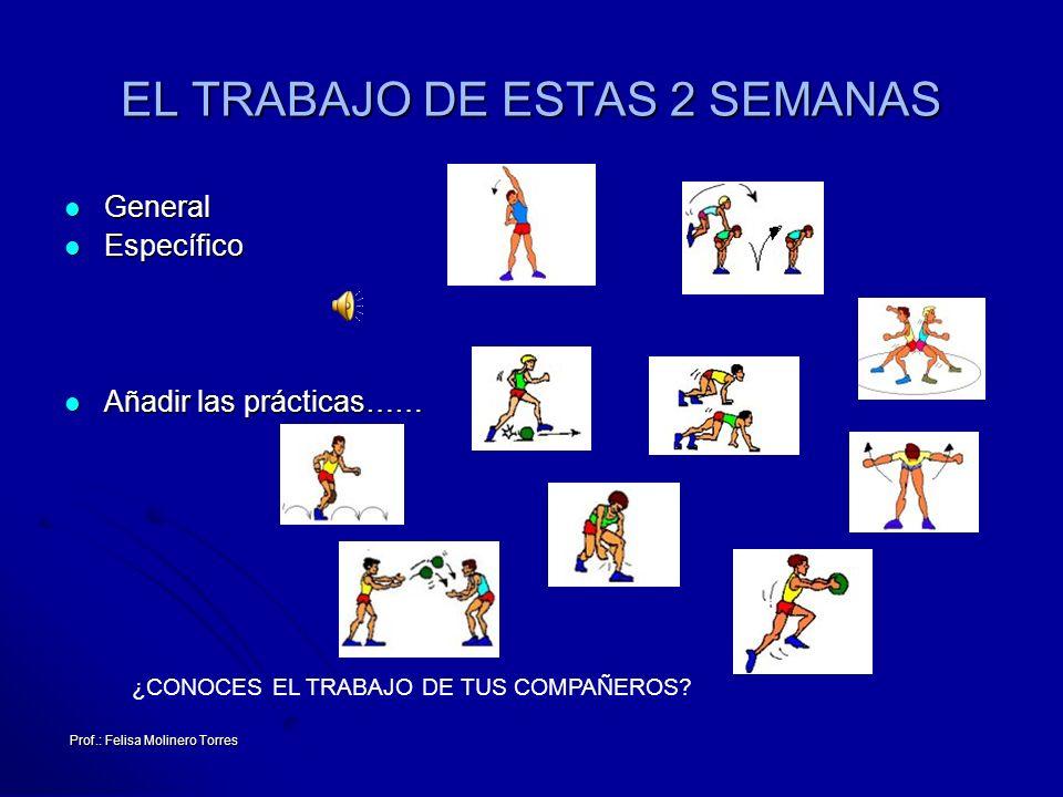 Prof.: Felisa Molinero Torres EL TRABAJO DE ESTAS 2 SEMANAS General General Específico Específico Añadir las prácticas…… Añadir las prácticas…… ¿CONOC