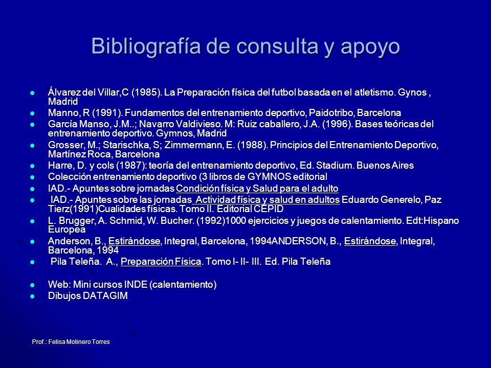 Prof.: Felisa Molinero Torres Bibliografía de consulta y apoyo Álvarez del Villar,C (1985). La Preparación física del futbol basada en el atletismo. G