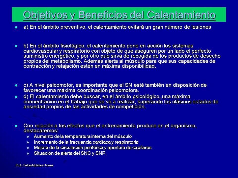 Prof.: Felisa Molinero Torres a) En el ámbito preventivo, el calentamiento evitará un gran número de lesiones a) En el ámbito preventivo, el calentami