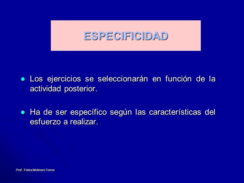 Prof.: Felisa Molinero Torres ESPECIFICIDAD Los ejercicios se seleccionarán en función de la actividad posterior. Los ejercicios se seleccionarán en f