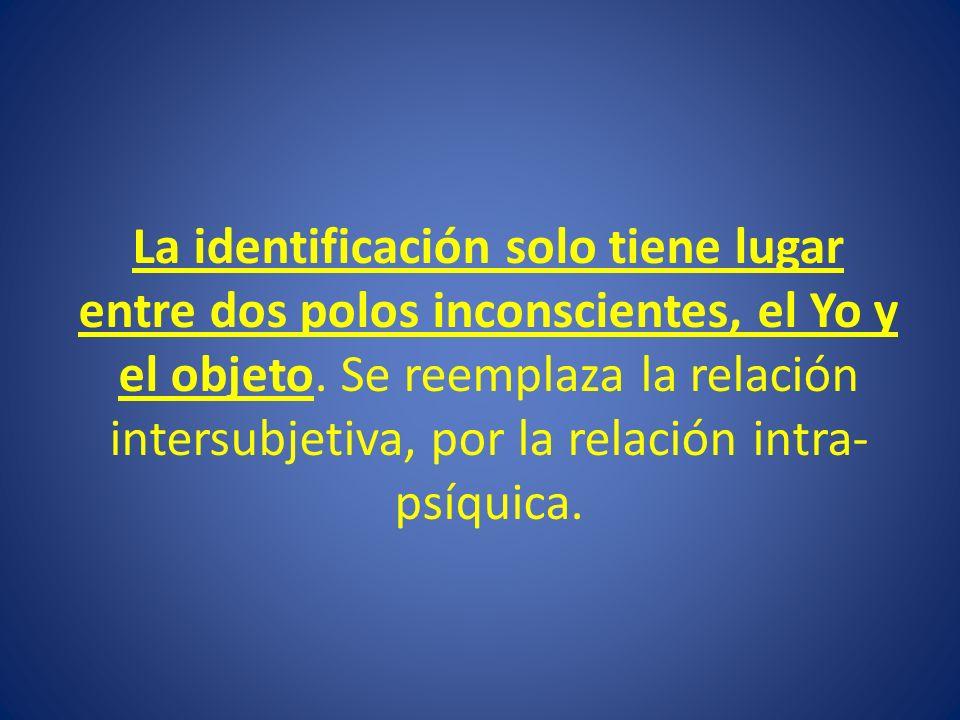 La identificación solo tiene lugar entre dos polos inconscientes, el Yo y el objeto. Se reemplaza la relación intersubjetiva, por la relación intra- p