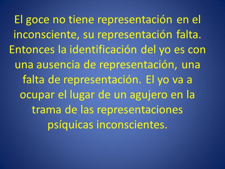 El goce no tiene representación en el inconsciente, su representación falta. Entonces la identificación del yo es con una ausencia de representación,