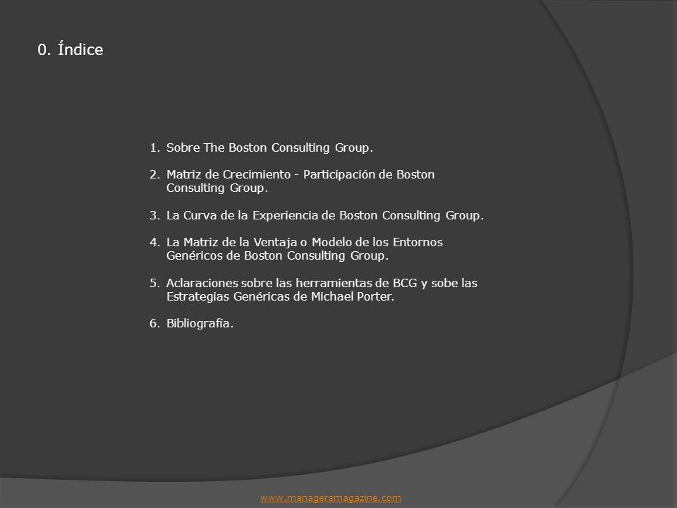 0. Índice 1.Sobre The Boston Consulting Group. 2.Matriz de Crecimiento - Participación de Boston Consulting Group. 3.La Curva de la Experiencia de Bos