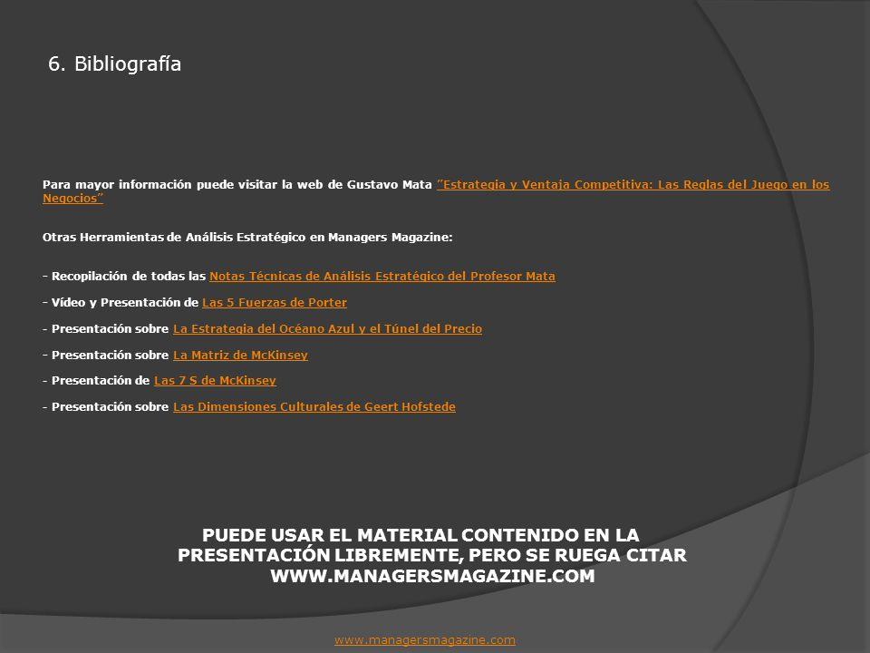 6. Bibliografía www.managersmagazine.com Para mayor información puede visitar la web de Gustavo Mata Estrategia y Ventaja Competitiva: Las Reglas del