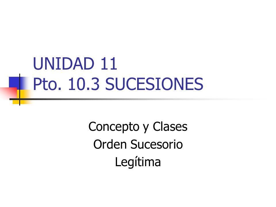 UNIDAD 11 Pto. 10.3 SUCESIONES Concepto y Clases Orden Sucesorio Legítima