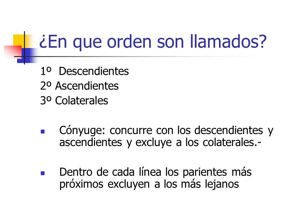 ¿En que orden son llamados? 1º Descendientes 2º Ascendientes 3º Colaterales Cónyuge: concurre con los descendientes y ascendientes y excluye a los col