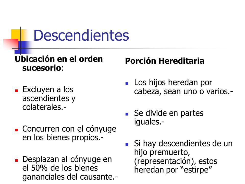 Descendientes Ubicación en el orden sucesorio: Excluyen a los ascendientes y colaterales.- Concurren con el cónyuge en los bienes propios.- Desplazan