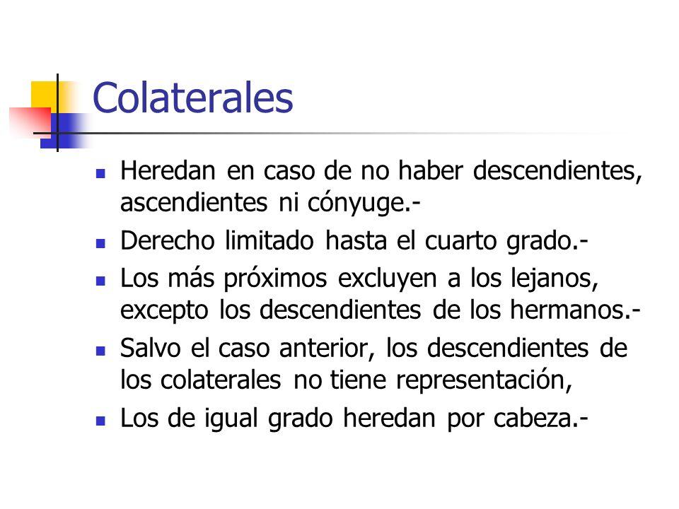 Colaterales Heredan en caso de no haber descendientes, ascendientes ni cónyuge.- Derecho limitado hasta el cuarto grado.- Los más próximos excluyen a