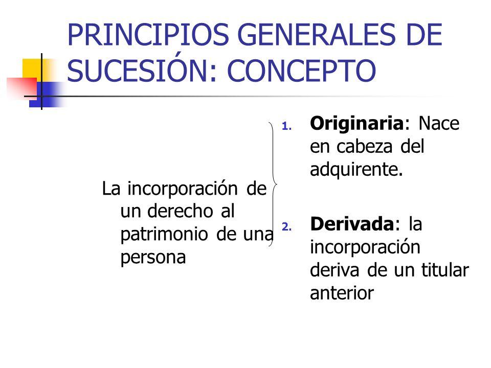 PRINCIPIOS GENERALES DE SUCESIÓN: CONCEPTO La incorporación de un derecho al patrimonio de una persona 1. Originaria: Nace en cabeza del adquirente. 2