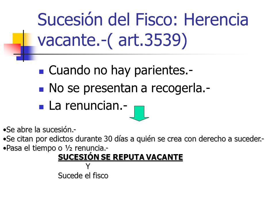 Sucesión del Fisco: Herencia vacante.-( art.3539) Cuando no hay parientes.- No se presentan a recogerla.- La renuncian.- Se abre la sucesión.-Se abre