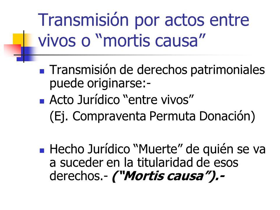 Transmisión por actos entre vivos o mortis causa Transmisión de derechos patrimoniales puede originarse:- Acto Jurídico entre vivos (Ej. Compraventa P