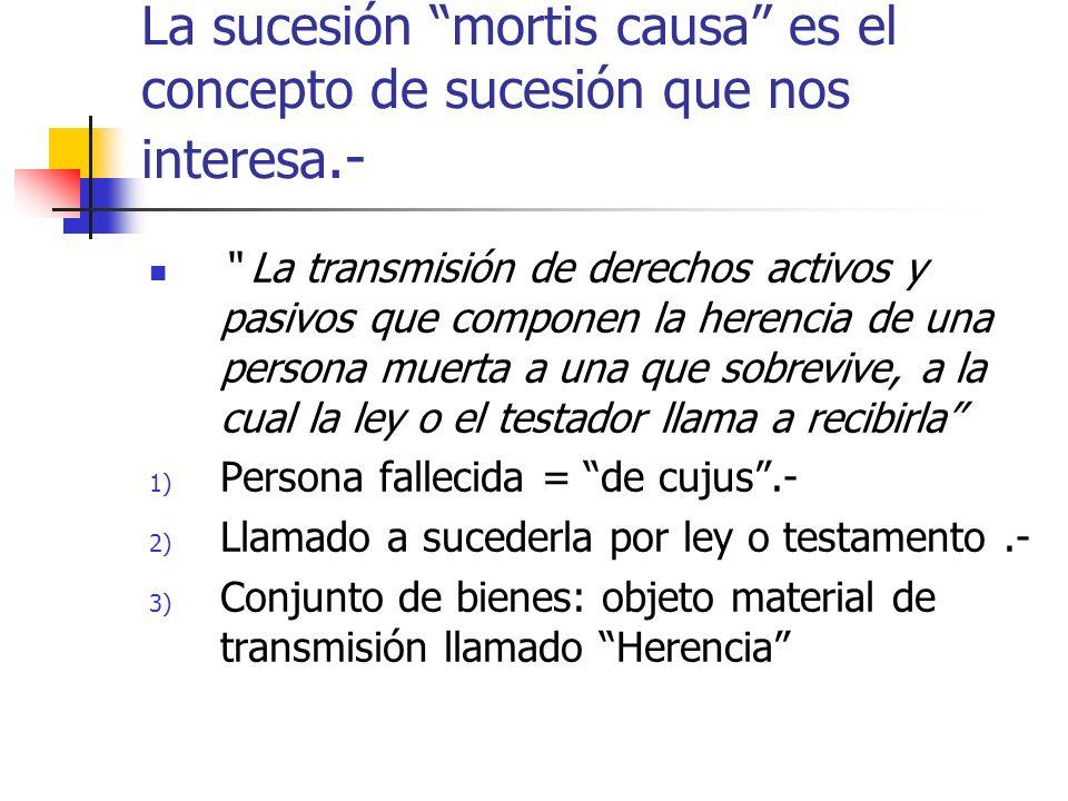 La sucesión mortis causa es el concepto de sucesión que nos interesa.- La transmisión de derechos activos y pasivos que componen la herencia de una pe