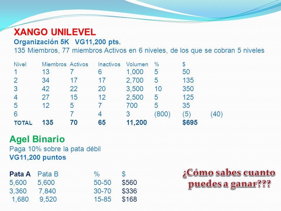 XANGO UNILEVEL Organización 5K VG11,200 pts. 135 Miembros, 77 miembros Activos en 6 niveles, de los que se cobran 5 niveles NivelMiembrosActivosInacti