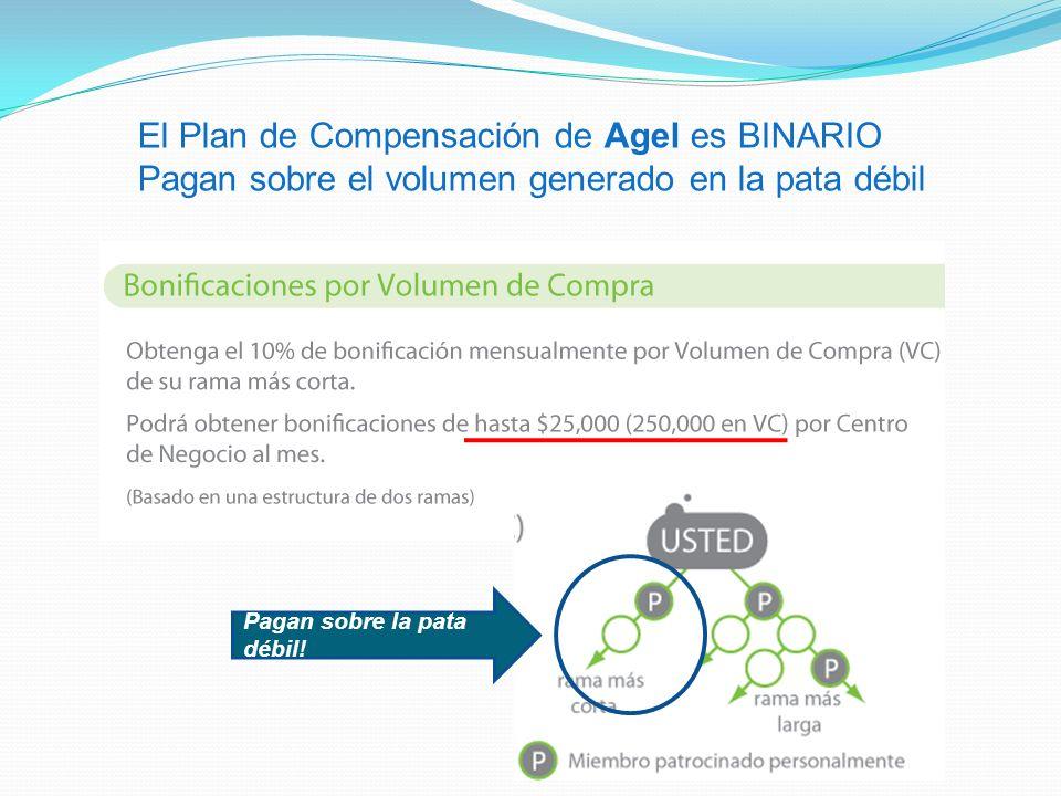 El Plan de Compensación de Agel es BINARIO Pagan sobre el volumen generado en la pata débil Pagan sobre la pata débil!
