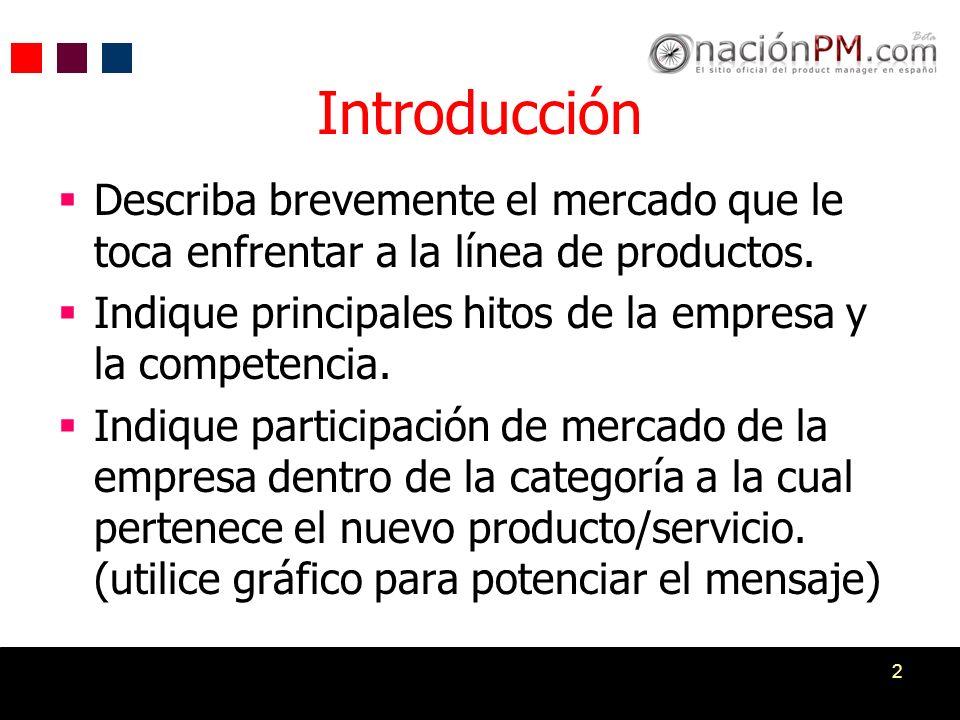 2 Describa brevemente el mercado que le toca enfrentar a la línea de productos. Indique principales hitos de la empresa y la competencia. Indique part
