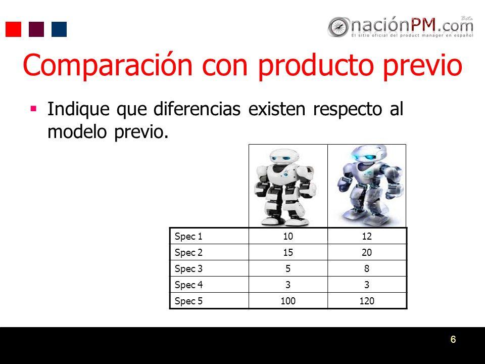 6 Comparación con producto previo Indique que diferencias existen respecto al modelo previo. Spec 11012 Spec 21520 Spec 358 Spec 433 Spec 5100120