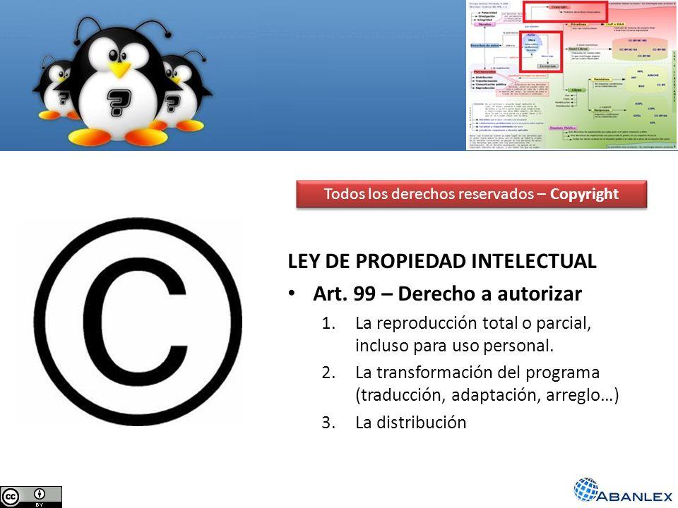 Todos los derechos reservados – Copyright LEY DE PROPIEDAD INTELECTUAL Art. 99 – Derecho a autorizar 1.La reproducción total o parcial, incluso para u