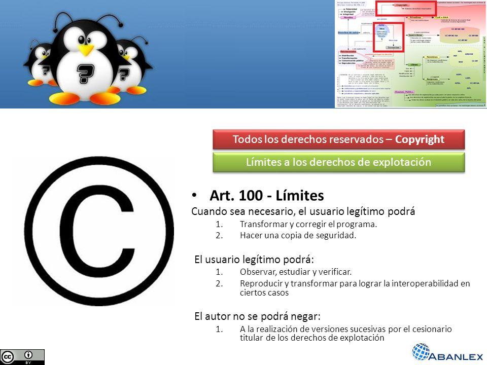 Todos los derechos reservados – Copyright Art. 100 - Límites Cuando sea necesario, el usuario legítimo podrá 1.Transformar y corregir el programa. 2.H