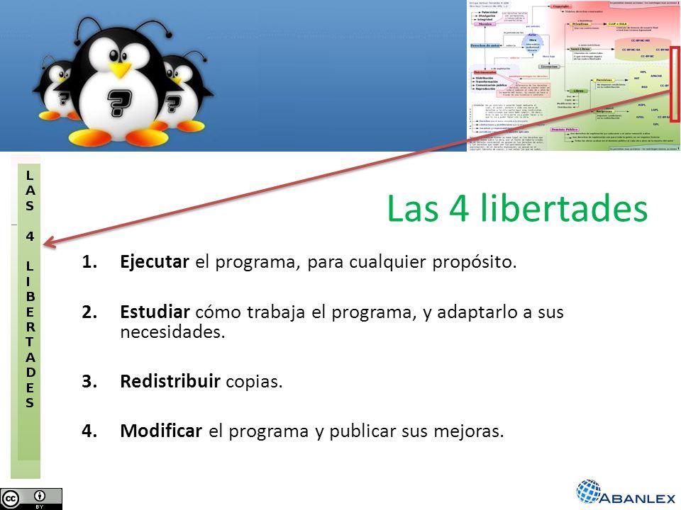 Las 4 libertades 1.Ejecutar el programa, para cualquier propósito. 2.Estudiar cómo trabaja el programa, y adaptarlo a sus necesidades. 3.Redistribuir