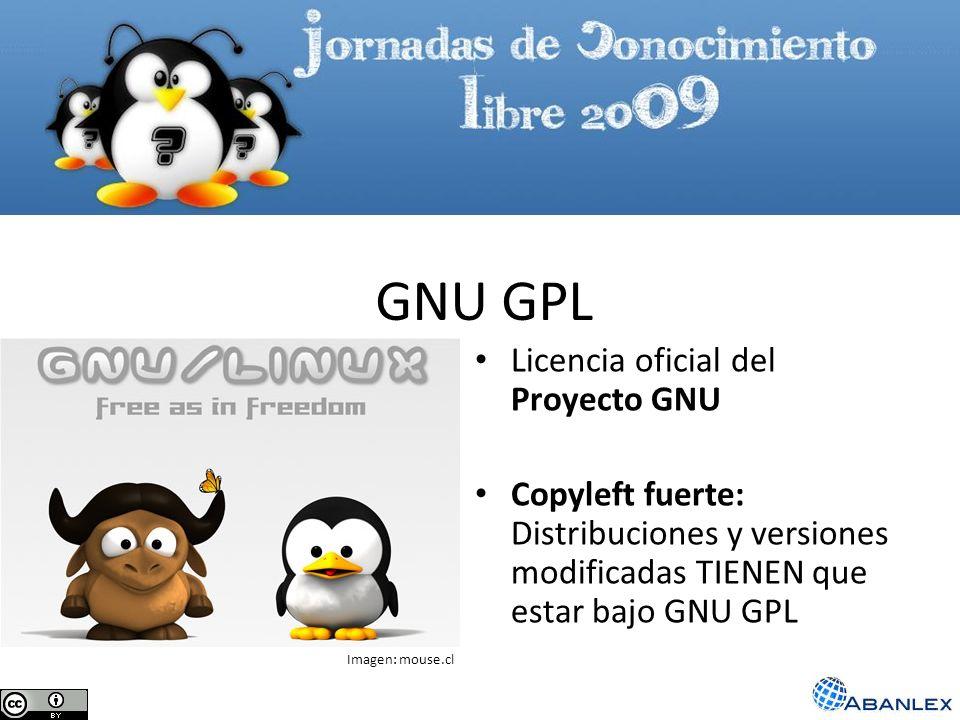 GNU GPL Licencia oficial del Proyecto GNU Copyleft fuerte: Distribuciones y versiones modificadas TIENEN que estar bajo GNU GPL Imagen: mouse.cl