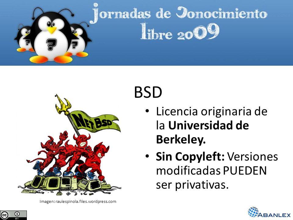 BSD Licencia originaria de la Universidad de Berkeley. Sin Copyleft: Versiones modificadas PUEDEN ser privativas. Imagen: raulespinola.files.wordpress