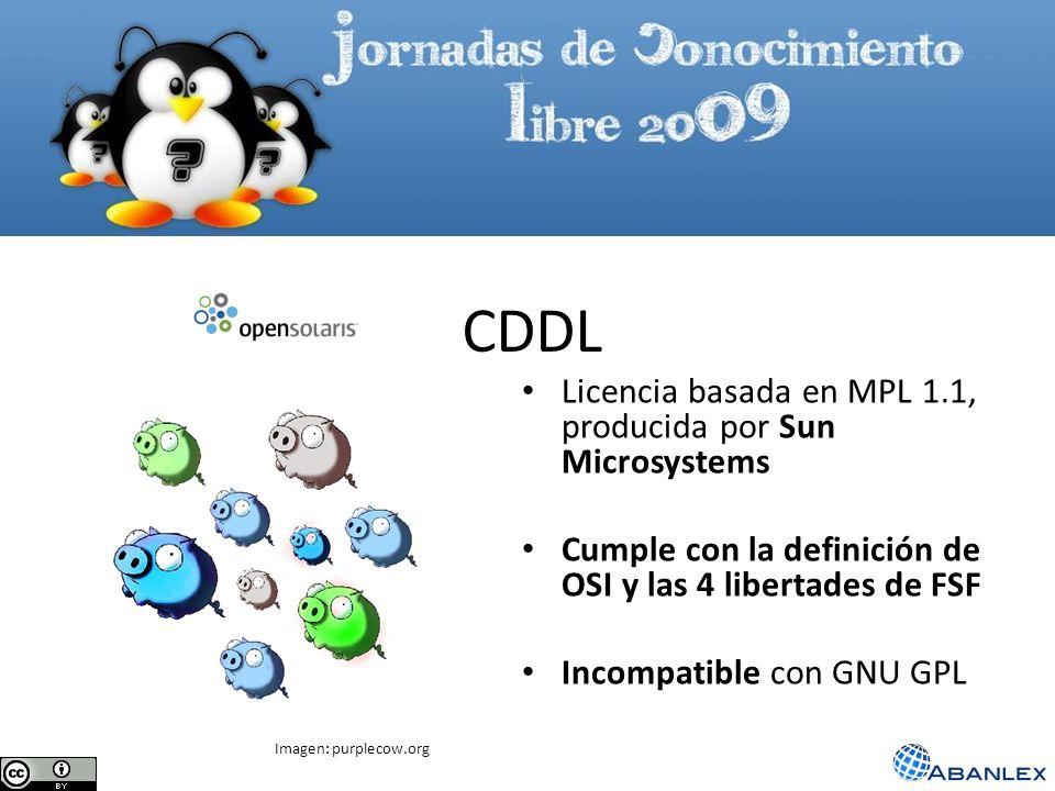 CDDL Licencia basada en MPL 1.1, producida por Sun Microsystems Cumple con la definición de OSI y las 4 libertades de FSF Incompatible con GNU GPL Ima