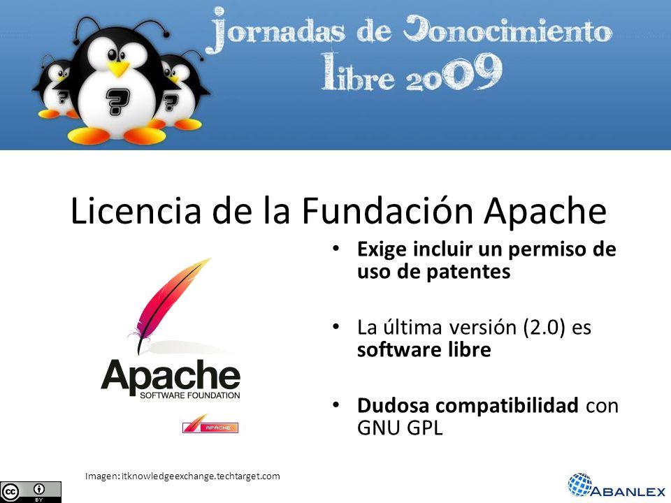Licencia de la Fundación Apache Exige incluir un permiso de uso de patentes La última versión (2.0) es software libre Dudosa compatibilidad con GNU GP