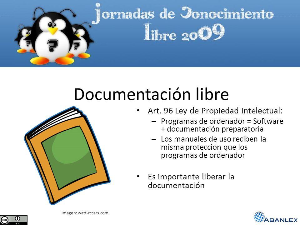 Documentación libre Art. 96 Ley de Propiedad Intelectual: – Programas de ordenador = Software + documentación preparatoria – Los manuales de uso recib