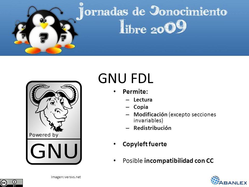 GNU FDL Permite: – Lectura – Copia – Modificación (excepto secciones invariables) – Redistribución Copyleft fuerte Posible incompatibilidad con CC Ima