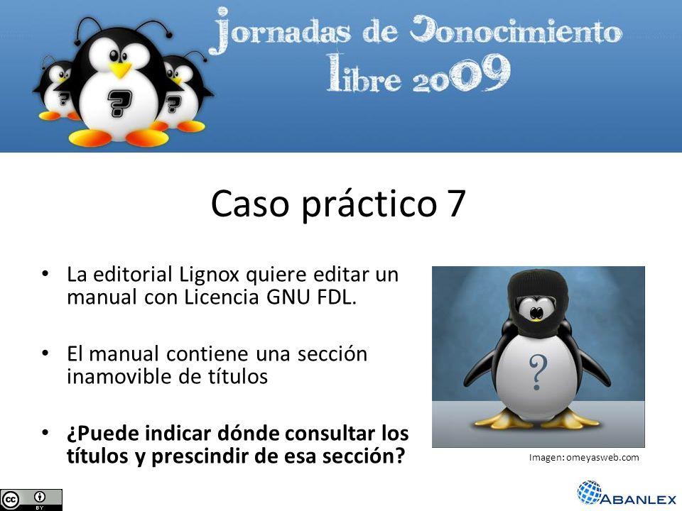 La editorial Lignox quiere editar un manual con Licencia GNU FDL. El manual contiene una sección inamovible de títulos ¿Puede indicar dónde consultar