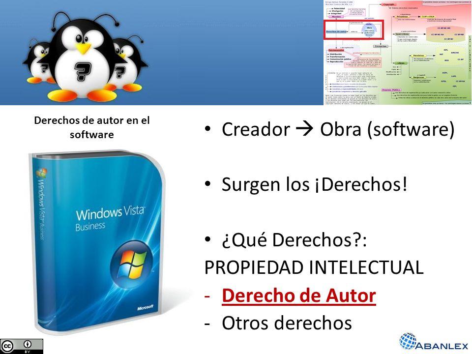 Derechos de autor en el software Creador Obra (software) Surgen los ¡Derechos! ¿Qué Derechos?: PROPIEDAD INTELECTUAL -Derecho de Autor -Otros derechos