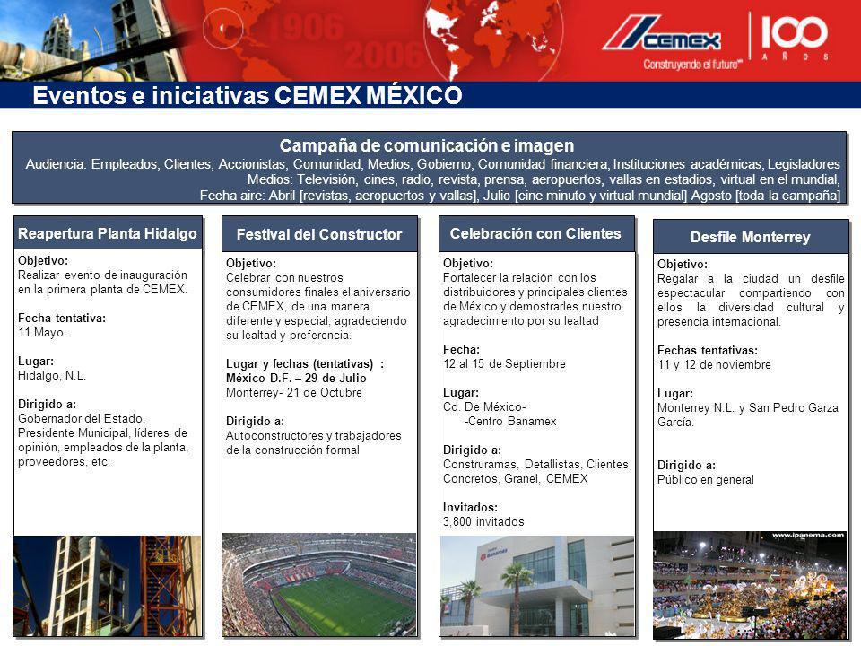 Reapertura Planta Hidalgo Objetivo: Realizar evento de inauguración en la primera planta de CEMEX. Fecha tentativa: 11 Mayo. Lugar: Hidalgo, N.L. Diri