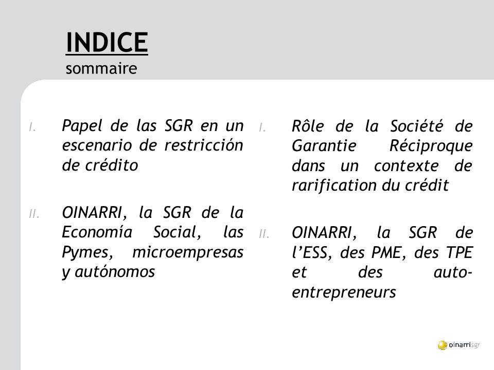 INDICE sommaire I. Papel de las SGR en un escenario de restricción de crédito II.