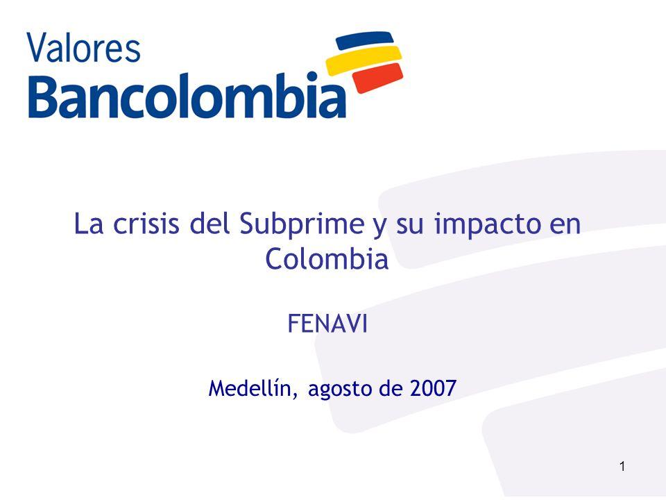 2 Contenido Coyuntura Actual: Crisis del mercado subprime Coyuntura Actual: Potencial impacto en mercados emergentes Evolución Economía Colombiana Portafolios Recomendados – Valores Bancolombia Conclusiones