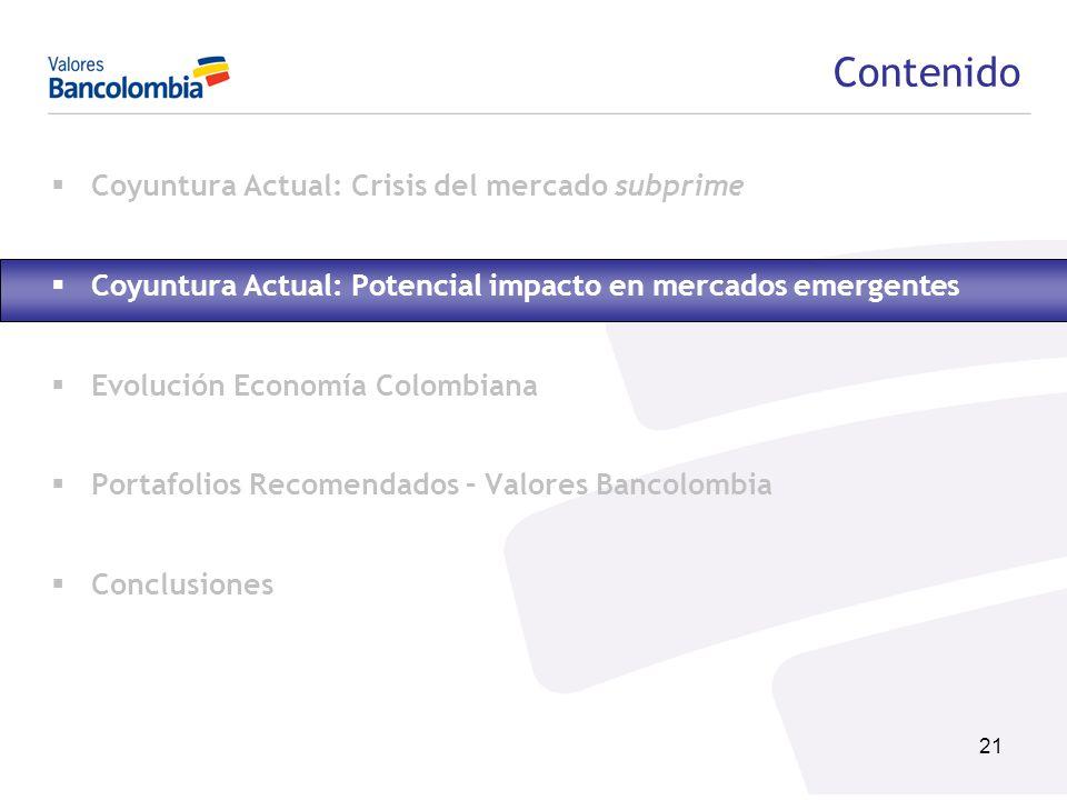 21 Contenido Coyuntura Actual: Crisis del mercado subprime Coyuntura Actual: Potencial impacto en mercados emergentes Evolución Economía Colombiana Po
