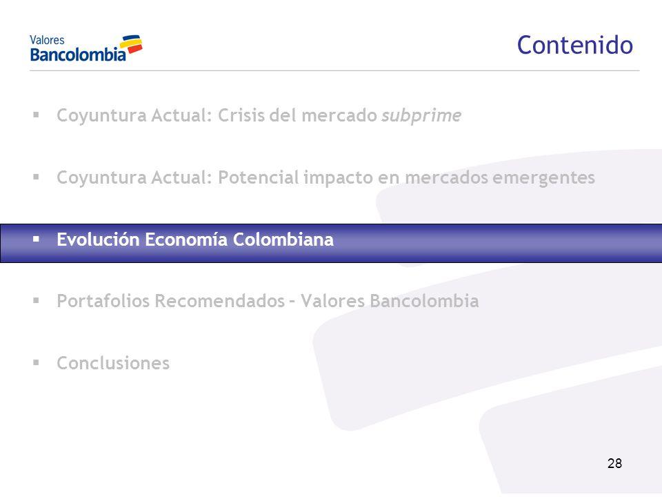 28 Contenido Coyuntura Actual: Crisis del mercado subprime Coyuntura Actual: Potencial impacto en mercados emergentes Evolución Economía Colombiana Po