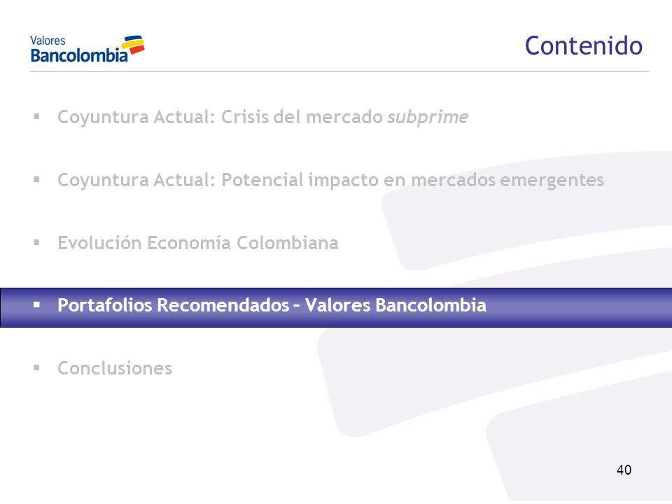 40 Contenido Coyuntura Actual: Crisis del mercado subprime Coyuntura Actual: Potencial impacto en mercados emergentes Evolución Economía Colombiana Po