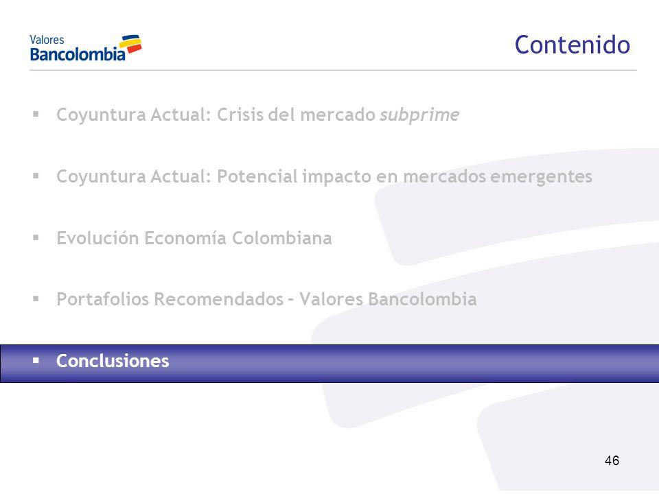 46 Contenido Coyuntura Actual: Crisis del mercado subprime Coyuntura Actual: Potencial impacto en mercados emergentes Evolución Economía Colombiana Po