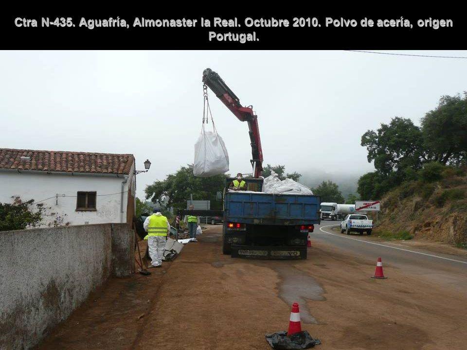 Ctra N-435. Aguafría, Almonaster la Real. Octubre 2010. Polvo de acería, origen Portugal.