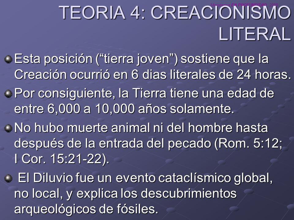Ministerios EN PROFUNDIDAD 2008 TEORIA 4: CREACIONISMO LITERAL Esta posición (tierra joven) sostiene que la Creación ocurrió en 6 dias literales de 24