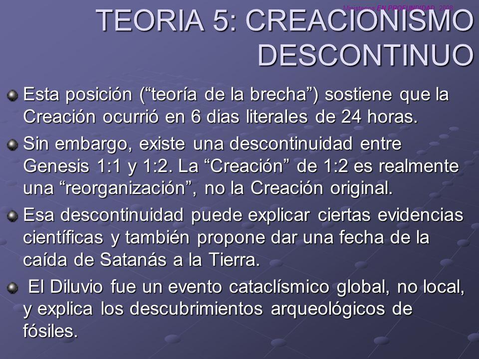Ministerios EN PROFUNDIDAD 2008 TEORIA 5: CREACIONISMO DESCONTINUO Esta posición (teoría de la brecha) sostiene que la Creación ocurrió en 6 dias lite