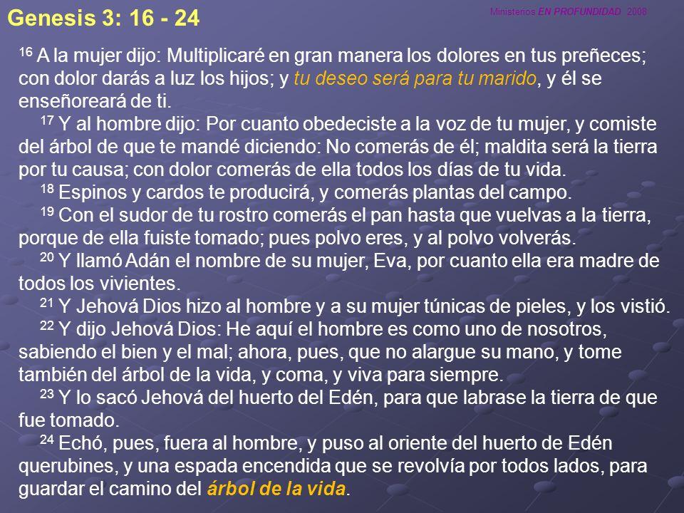 Ministerios EN PROFUNDIDAD 2008 16 A la mujer dijo: Multiplicaré en gran manera los dolores en tus preñeces; con dolor darás a luz los hijos; y tu des